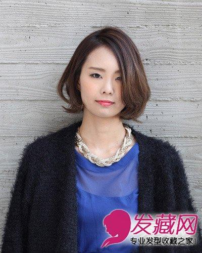 女生发型 女生发型与脸型 > 菱形脸也称为杏仁脸 中短发遮住高颧骨(3)