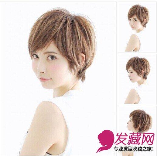 空气刘海圆脸中短发      染发颜色:棕色      将短发的发尾剪出碎发
