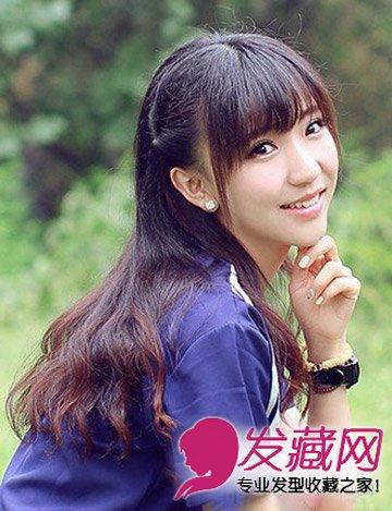 乖巧的长直发发型 长发配对脸型最显脸小(7)