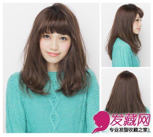 大脸妹适合的发型 十分的甜美优雅中长发  导读:脸大的女生适合的发型