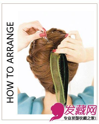 韩式编发盘发编发图解(7)  导读:step 4:黑色发卡将丝带固定在发尾就
