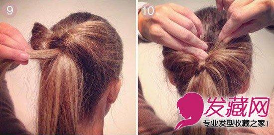 取一小缕头发,在蝴蝶结中心缠绕一次,用发夹固定.