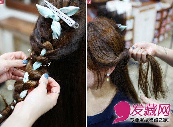 长发编成纹理别致的辫子 超简单头巾编发步骤图解(5)