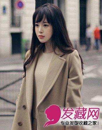 纯黑色的长卷发发型 韩式薄刘海清纯萝莉