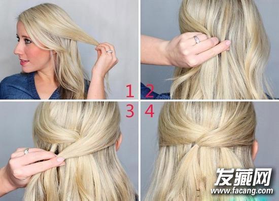 步骤一:抓起侧边一小撮头发,用小黑夹与中间一撮头发固定在一起.