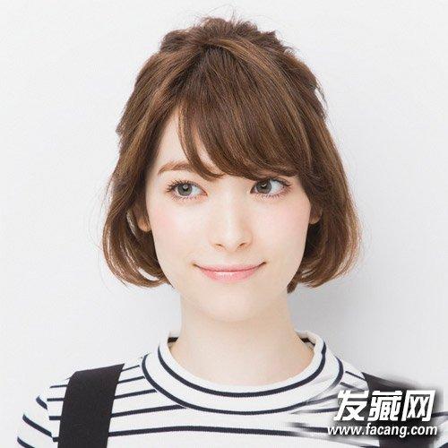 无刘海绝对清新自 →2016年流行什么短发 韩式可爱的蛋卷头发型 →12