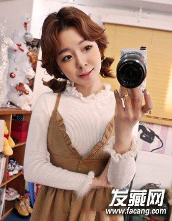 女生扎发发型 精致的双花苞头卷发最可爱(3)  导读:时尚的韩式 短发