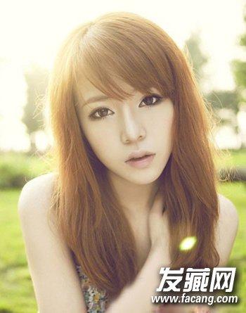 胖圆脸mm微微内扣的中长发 搭配刘海最显瘦(3)