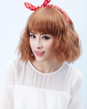 韩国短发水波纹烫发图片