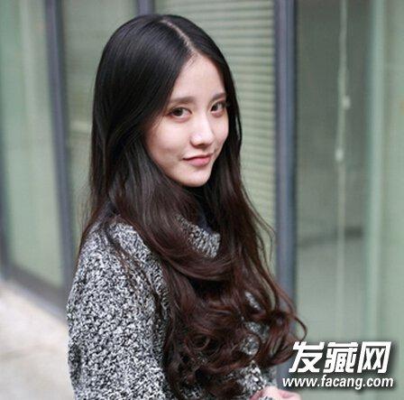 甜美韩式长发烫发发型图片