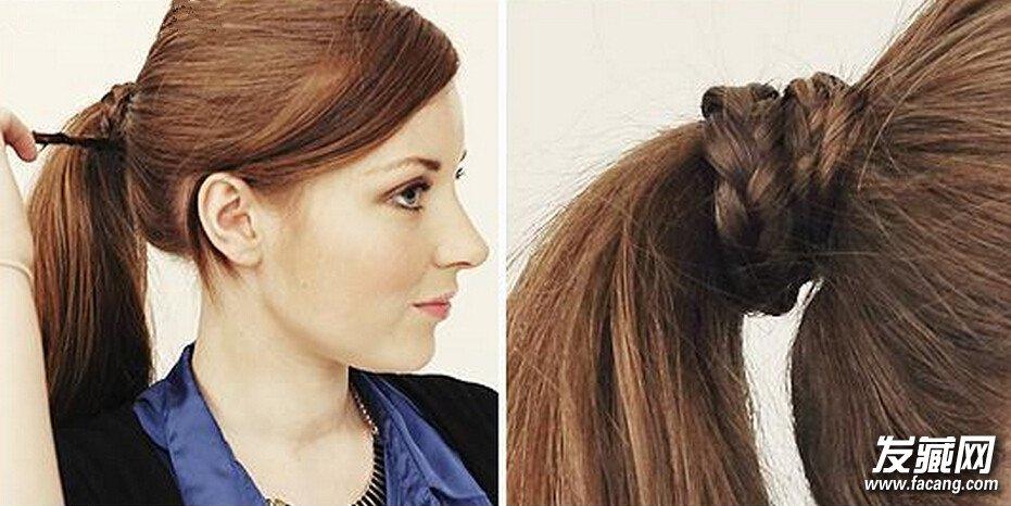 冬季韩式长发马尾辫的简便扎法图片