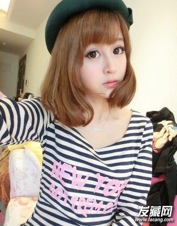 2014甜美可爱斜刘海发型 短发的斜刘海 女生发型,亚麻的 染发结合后