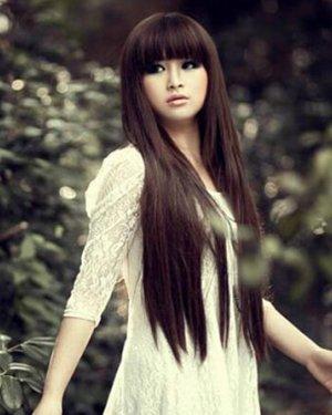 清纯齐刘海长直发发型图片