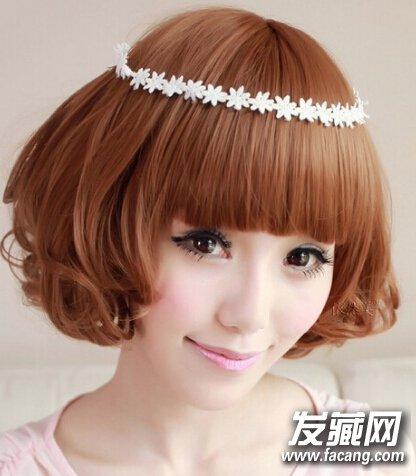 齐刘海波波头可爱时尚烫发图片