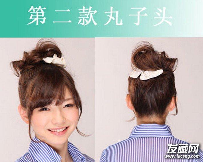 齐刘海和花苞头卖萌绝 →俏皮可爱的丸子头扎法 2款实用短发发型扎法