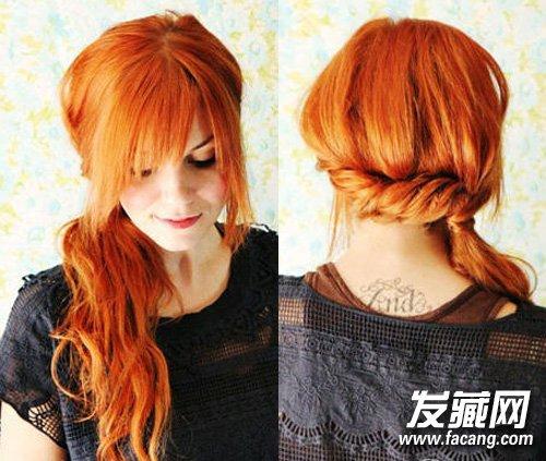 先把头发分成三股,最好之前卷烫过,然后将左侧的向右侧边旋扭边收头发
