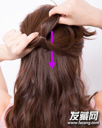 懒mm必学中长发发型扎法 清纯甜美半扎公主头(5)