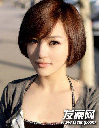 这一款清新的齐耳短发也是不错的一款哦,淑女气质十足,斜刘海图片