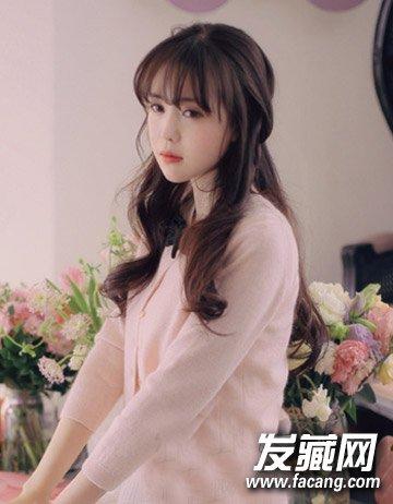圆脸适合的卷发发型 韩式麦穗烫发发型图片