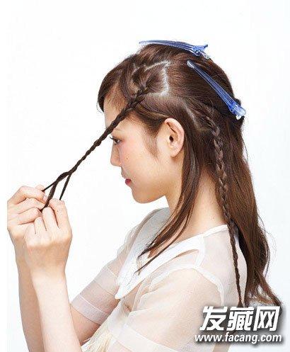 扎发步骤: step1:从前额取出一束头发编成精致的小辫子.