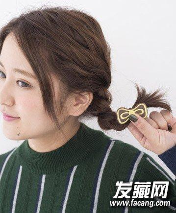 精致的辫子俏皮可爱发型 2款中短发扎法图解(7)