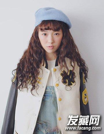 中长发烫发发型图片 时尚内扣空气感刘海(3)