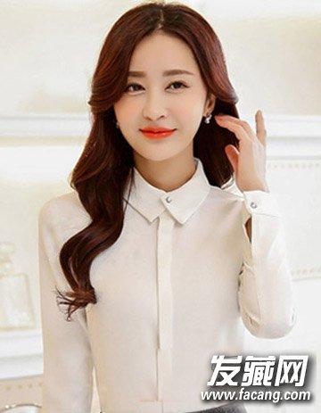 中长发烫发发型图片 时尚内扣空气感刘海(5)