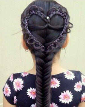 韩式小清新气质心形编发 编发发型的甜美度