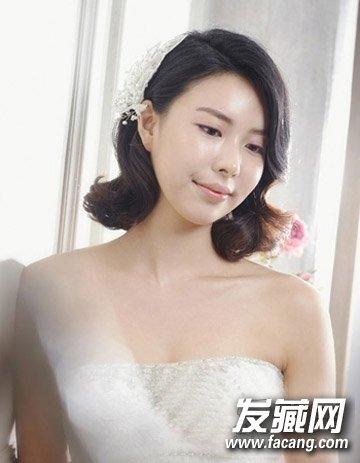 清新可爱中短发烫发发型 气质韩式新娘发型(4)