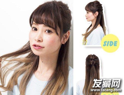 夏季如何扎出斜刘海盘发 扎头发的方法图解(8)