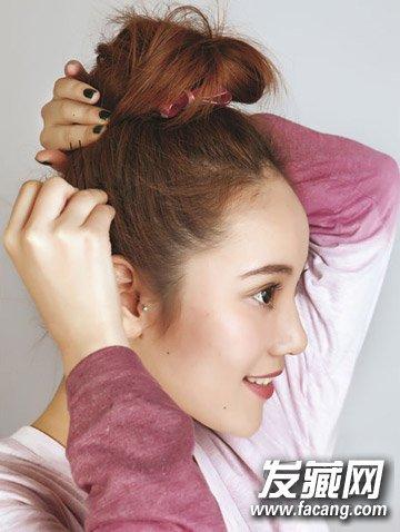 高圆圆的丸子头发型, 学高圆圆扎个清爽丸子头(5)图片