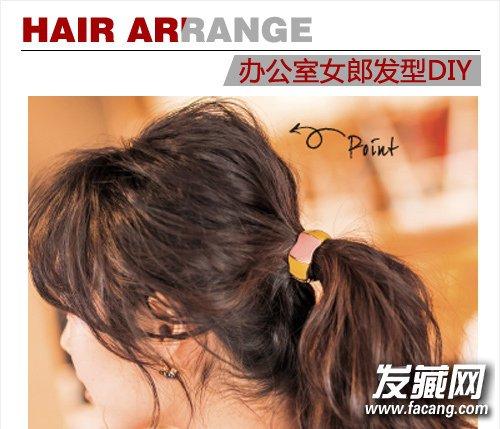 简单盘发&韩式马尾 棕色中长卷发发型(2)