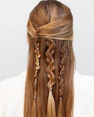 瀑布辫编法图解长短发都适合(4)