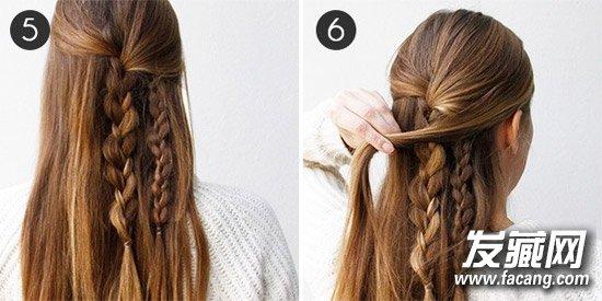 Step5:完成第二个三股辫的编织。   Step6:从前额右侧留下的头发中取出一缕更纤细的头发,盖在已有的两条三股辫上置于左侧。    Step7:从前额的左侧也取出一缕头发,将两者合并,编织最后一个三股辫。   以三股辫打造的伪瀑布辫比传统辫更易掌控也更稳固,不会被风吹了散乱纷飞,让你做一个安静的美少女。