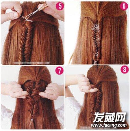 发型网 流行发型 鱼骨辫发型 > 拧转半扎发鱼骨辫 3分钟diy个性扎发(3
