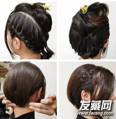 简单短发盘发教程 甜美更清爽蜈蚣辫发型(3)
