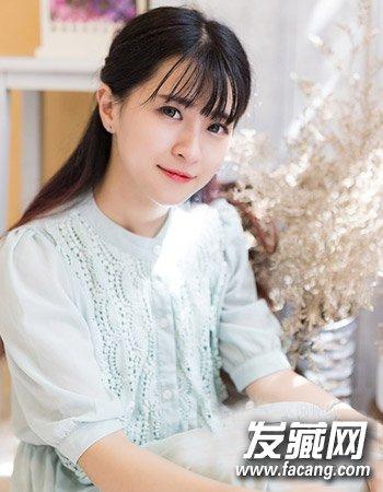 可爱齐刘海公主编发