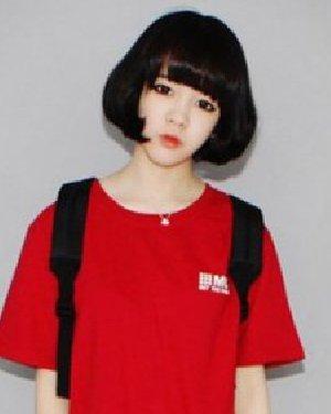 女生中短发发型图片 韩式黑色中短发波波头发型