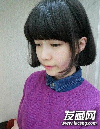 女生中短发发型图片 韩式黑色中短发波波头发型(4)