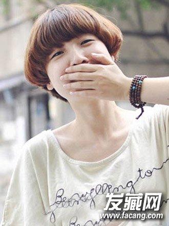 棕色系齐刘海短发发型 适合圆脸的短发发型