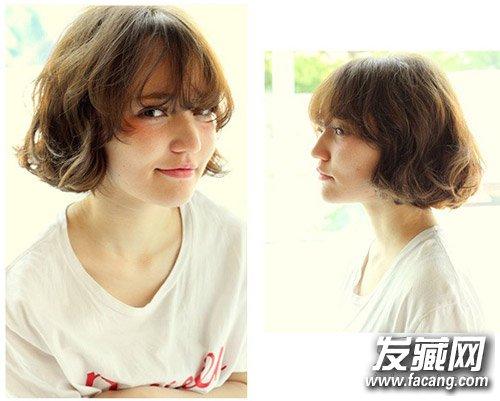 椭圆形脸适合什么短发 二八分的韩式斜刘海发型(5)