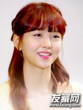 中长发女生款韩式简单发型扎法(4)