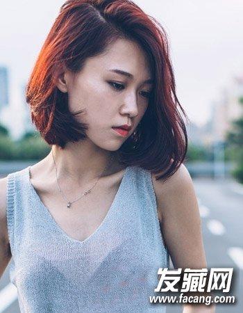 齐肩发烫发发型图片 中长发发型图片
