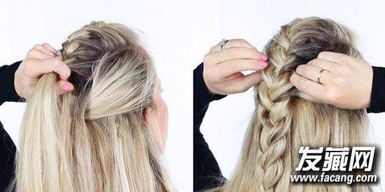 用多股辫的方法进行编发,最后编成一条简单的三股麻花辫,将编好的辫子图片