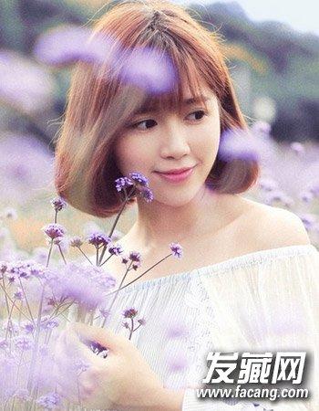 韩式中短发发型 秋季照样做女神(5)  导读:小清新中短发5 薄平刘海与