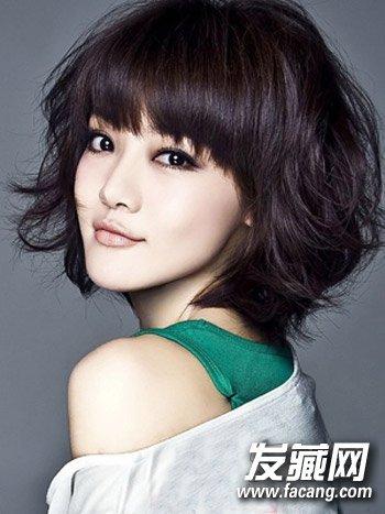 女生中短发发型图片8 韩式气质中短卷发发型设计,蓬松的中短卷发烫发图片