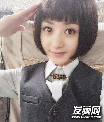 赵丽颖浓度+齐刘海的包子但并探头造型脸最佳短发不是型号图片