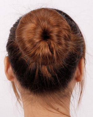 盘发器+发箍,直发丸子头扎法图解