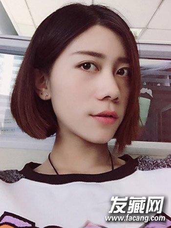 圆脸适合什么短发 韩式侧分中短发发型(2)
