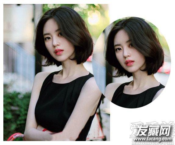 清爽的露额发型与柔顺的齐肩中短发搭配起来,发尾的小小内扣简图片